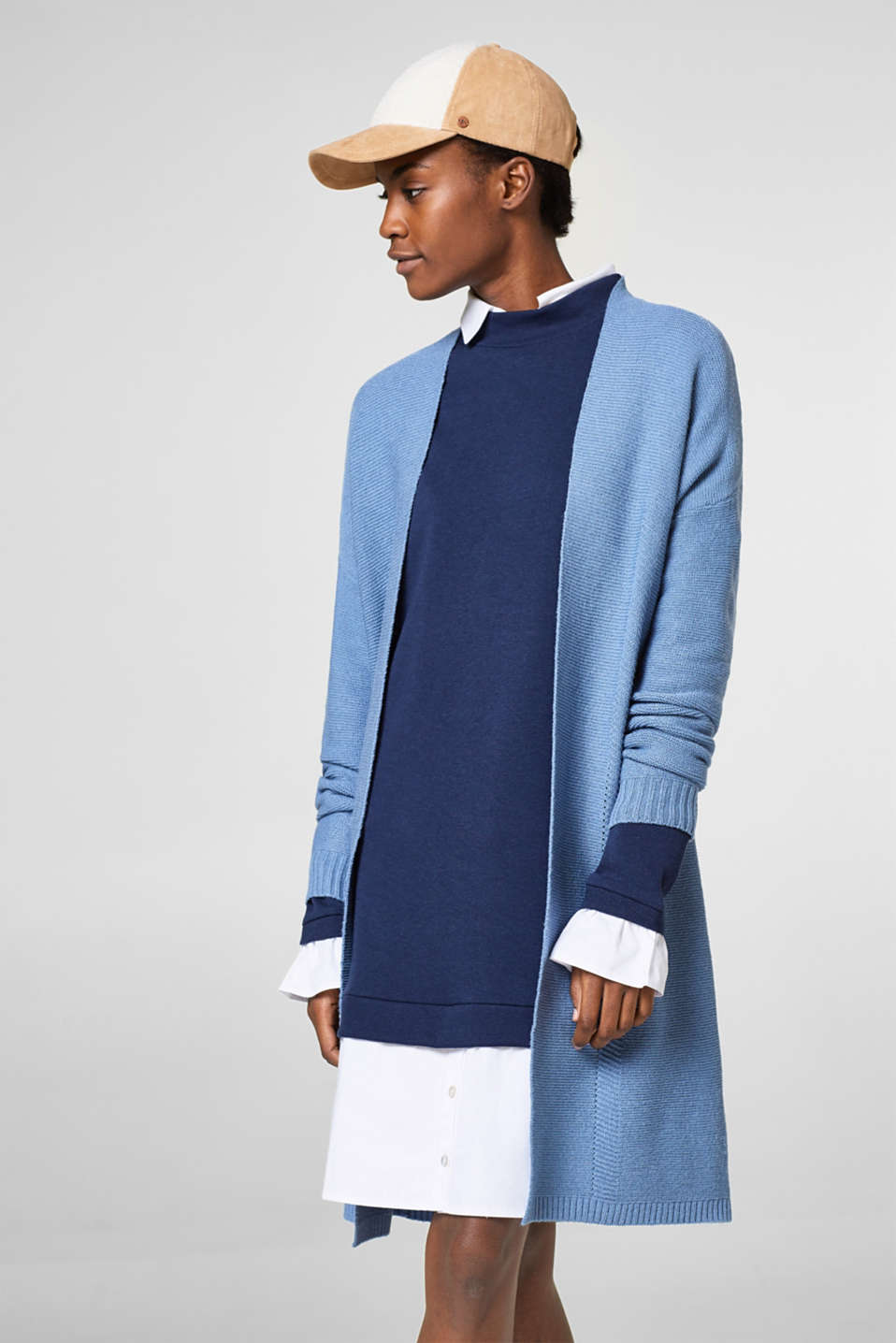 Esprit - Long open cardigan in a textured knit