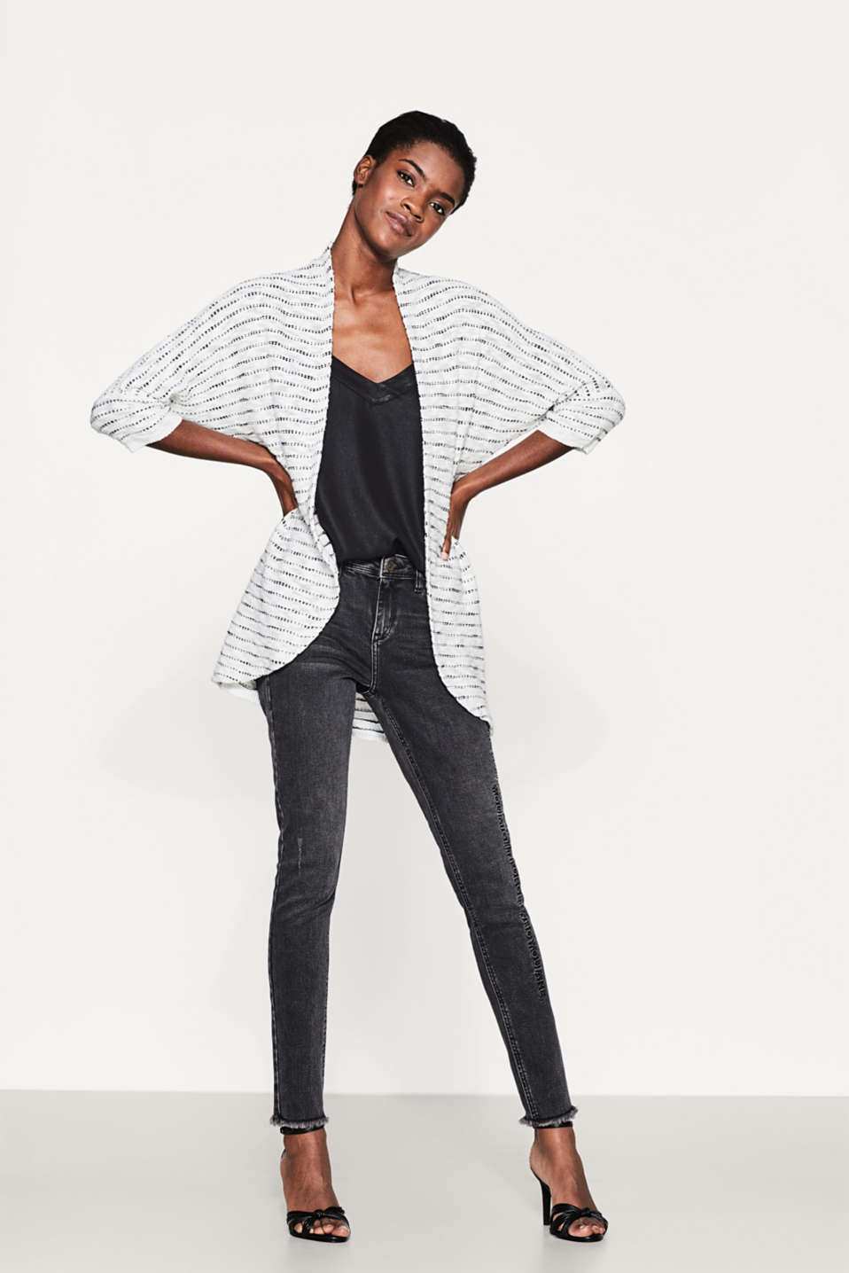 Esprit - Airy slub cardigan in 100% cotton