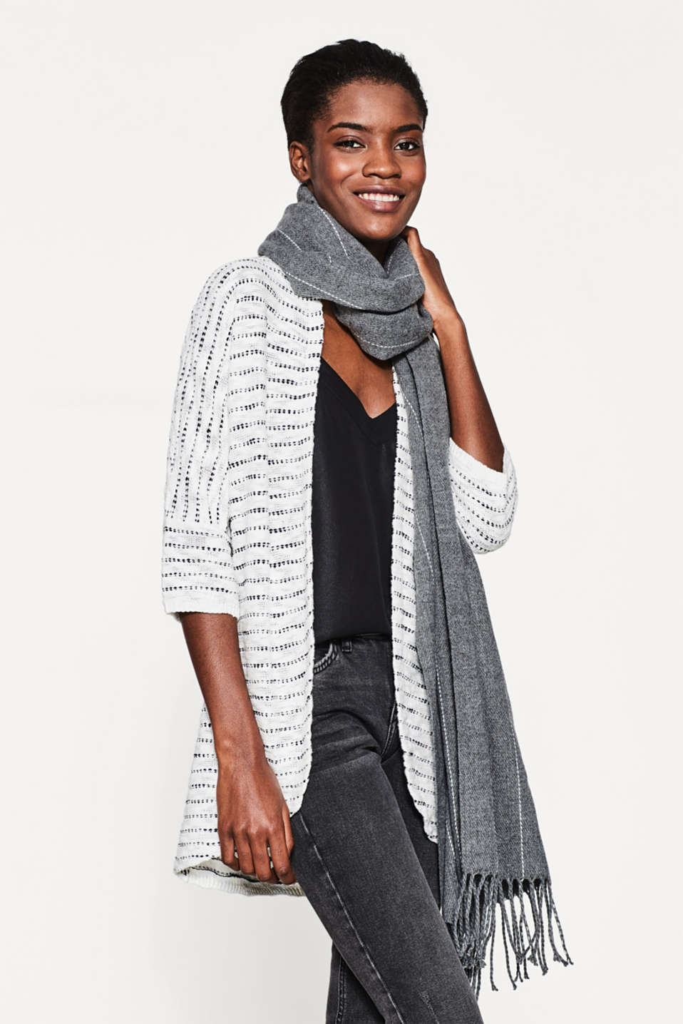 Airy slub cardigan in 100% cotton
