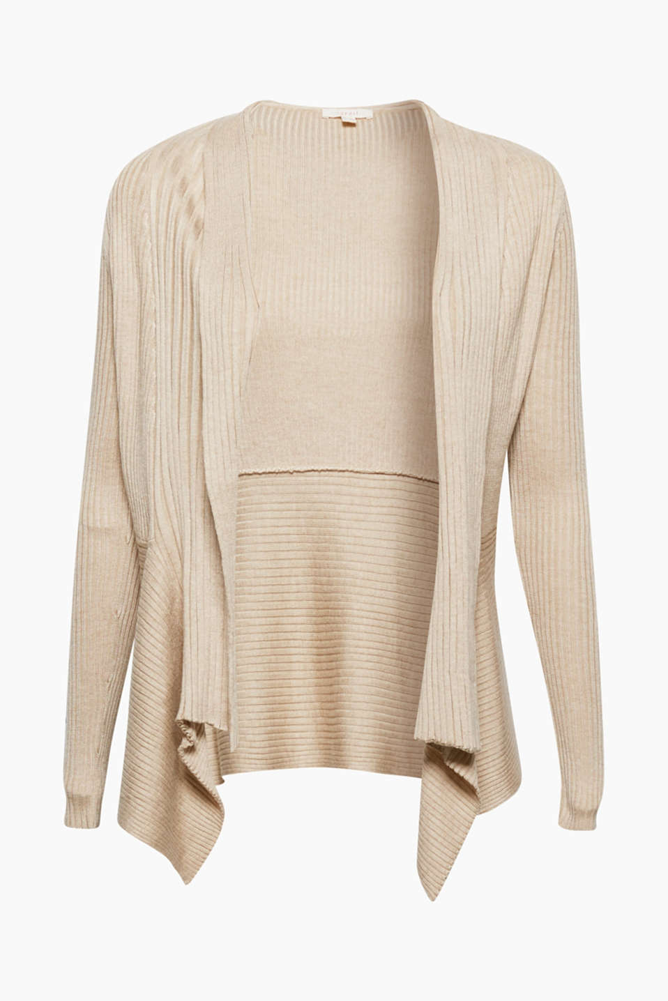 Your fashion basic in contemporary trend colours: open cardigan in a light ribbed knit.