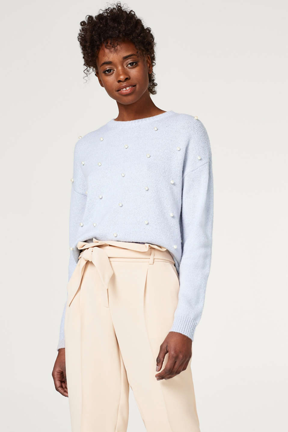 Esprit - Casual knitted jumper + decorative beads