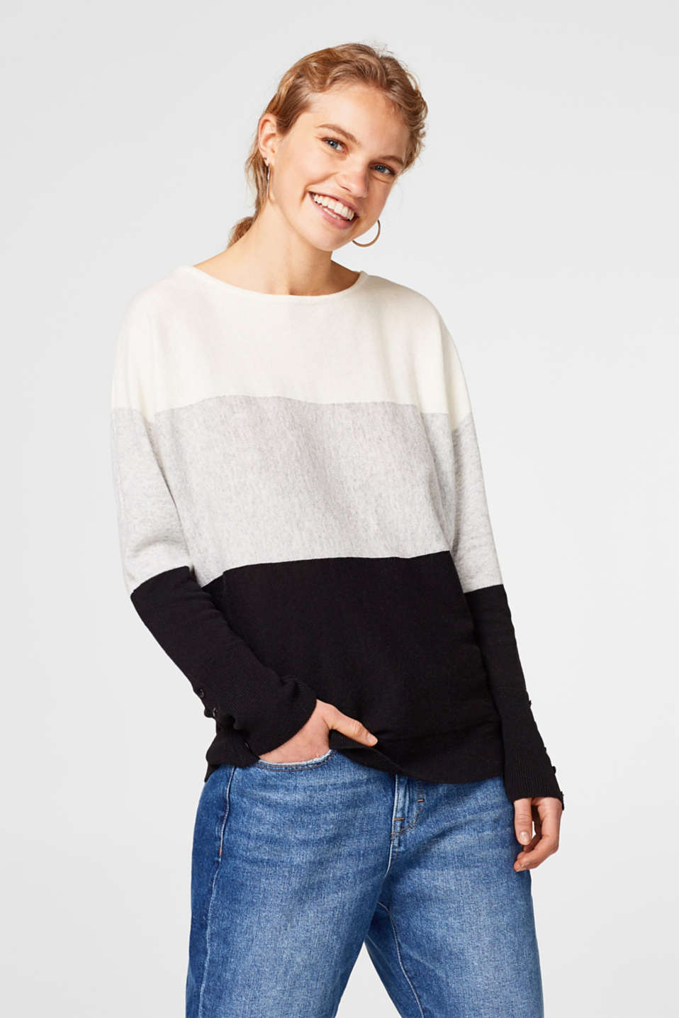 Esprit - Cashmere colour block jumper