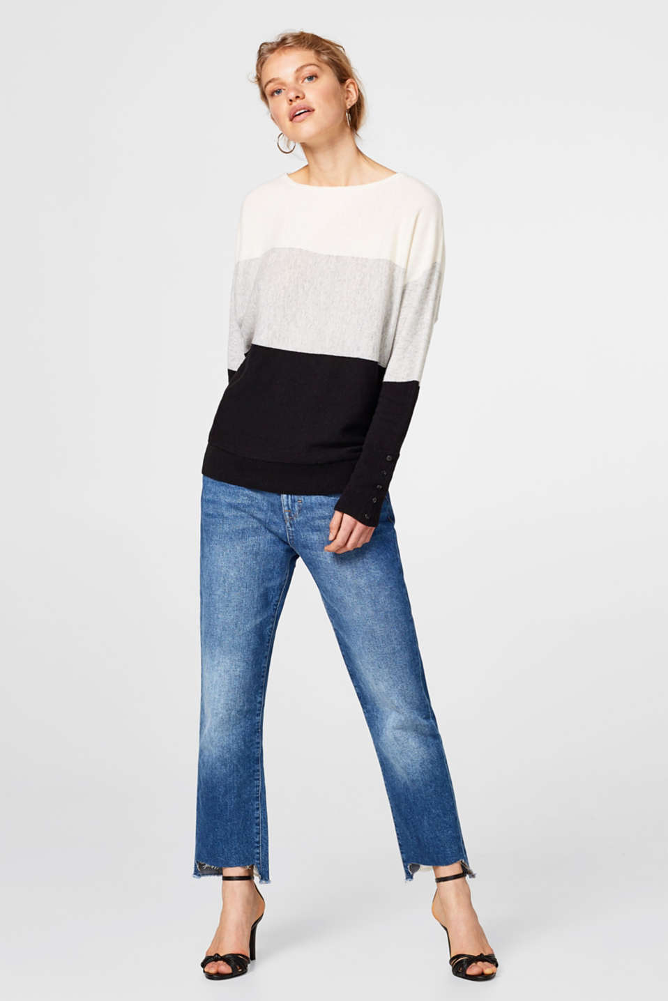 Cashmere colour block jumper