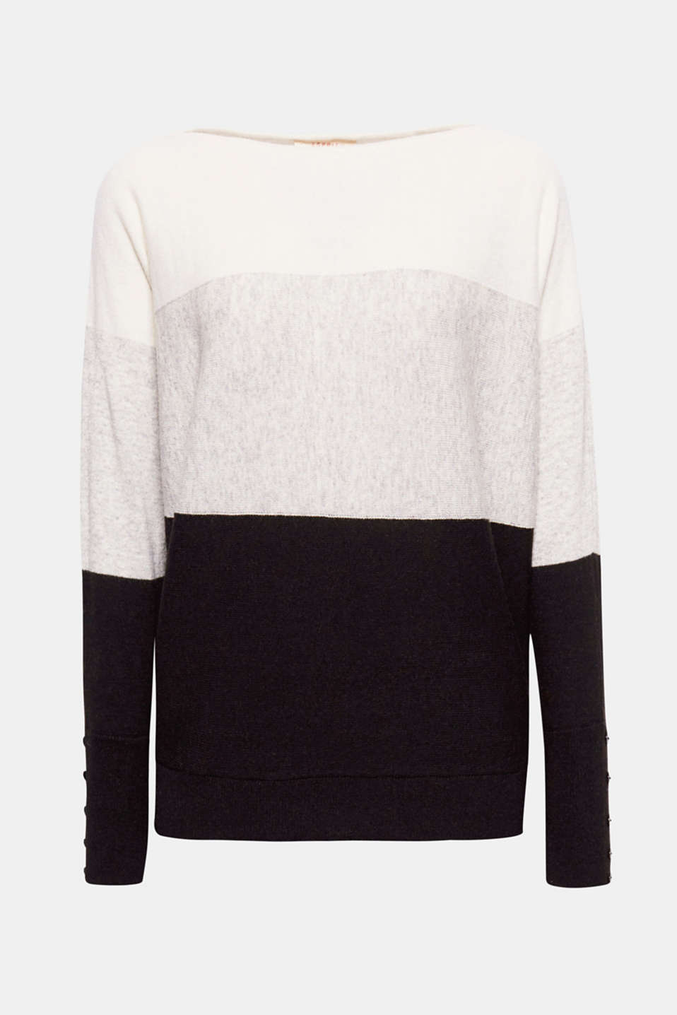 Trendy colour blocking: This jumper also impresses with its stylish batwing sleeves and elegant cashmere!