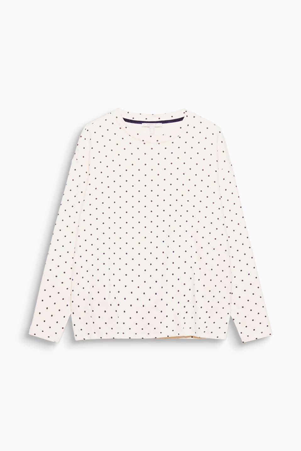 Casual cut, feminine polka dot print: this cotton sweatshirt is easy to mix and match, and super comfortable to wear!