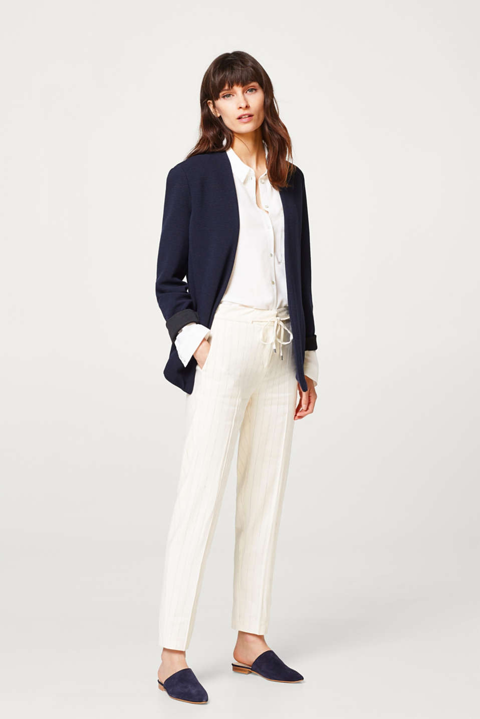 Esprit - Jersey blazer with a sporty striped texture
