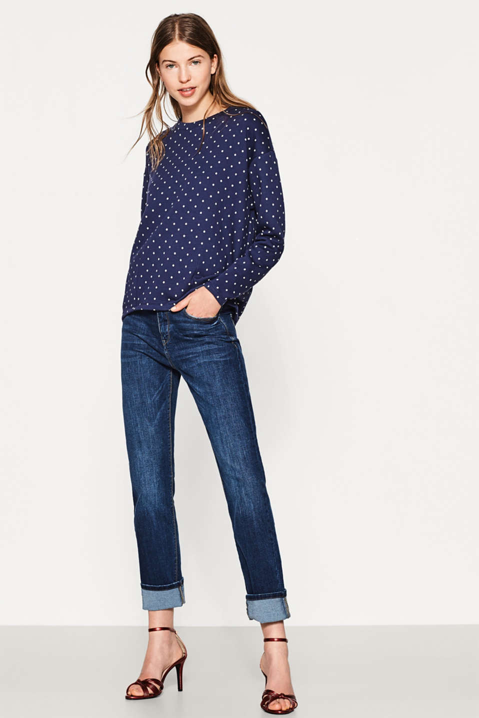 Esprit - Light polka dot sweatshirt, 100% cotton