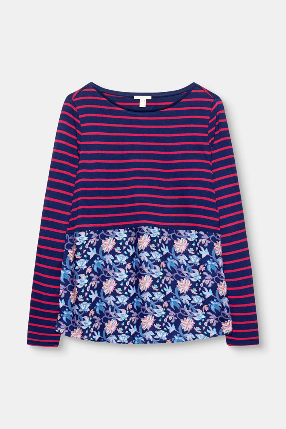 Sporty stripes in combination with a colourful floral print give this long sleeve top its individual look!