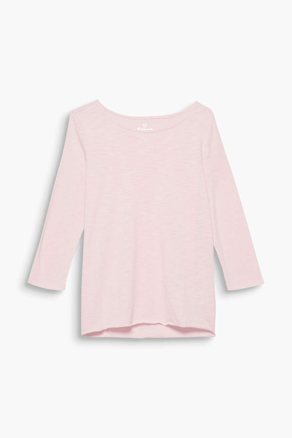 With premium, environmentally-friendly organic cotton: slub tee with 3/4 sleeves, a wide neckline and overlocked hem.