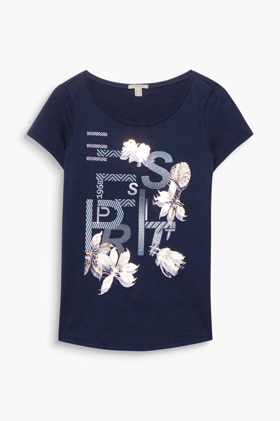 A current logo print meets glittering flowers - a decorative make-over for this soft, pure cotton T-shirt!