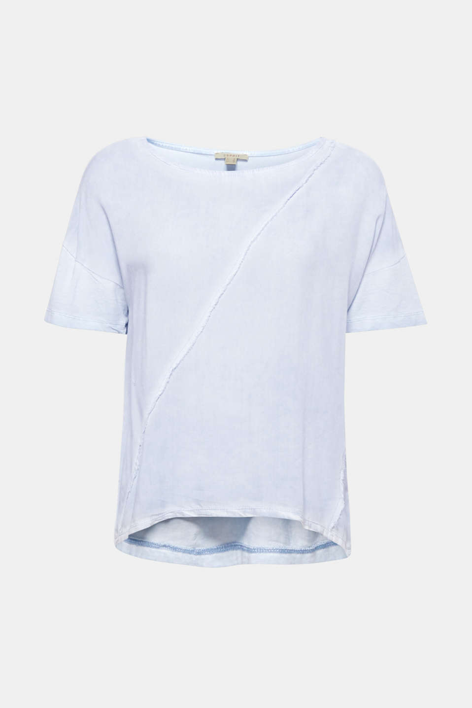 This blouse top embodies casual style with its combination of a trendy dye and unfinished hem edges