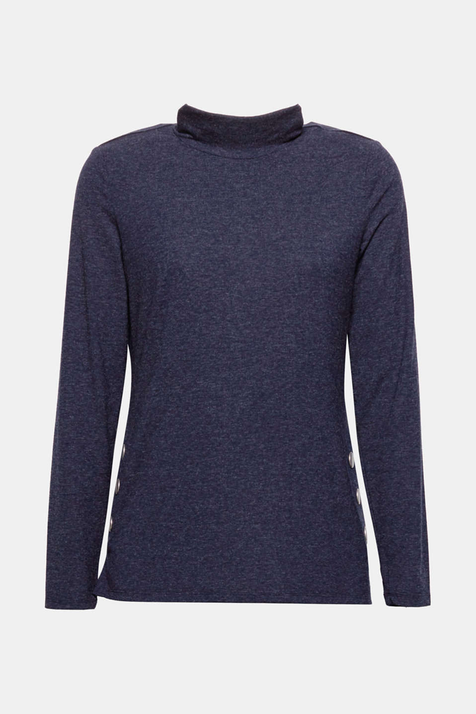 En basic med cool fashion-look: meleret, langærmet overdel i jersey, med turtleneck