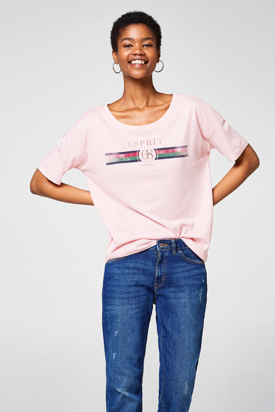 Esprit - Flowing tee with a shiny logo print
