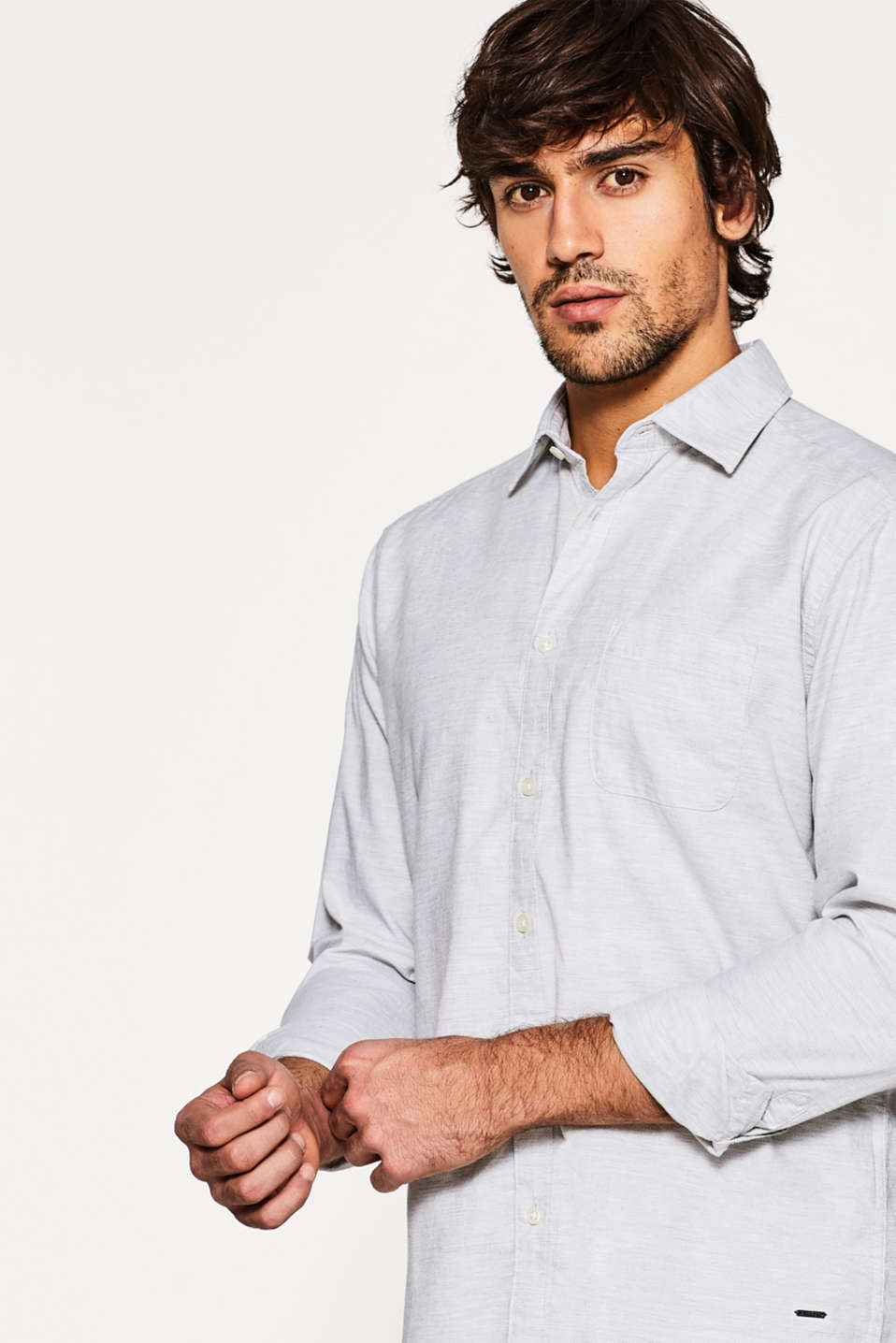 Esprit - Shirt with a slub texture, in cotton