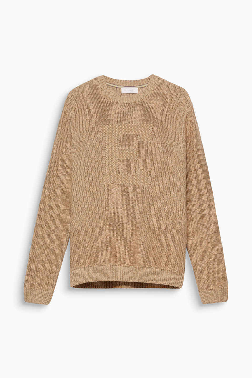 We love knitwear! The striking intarsia lettering gives this jumper a sporty flair,