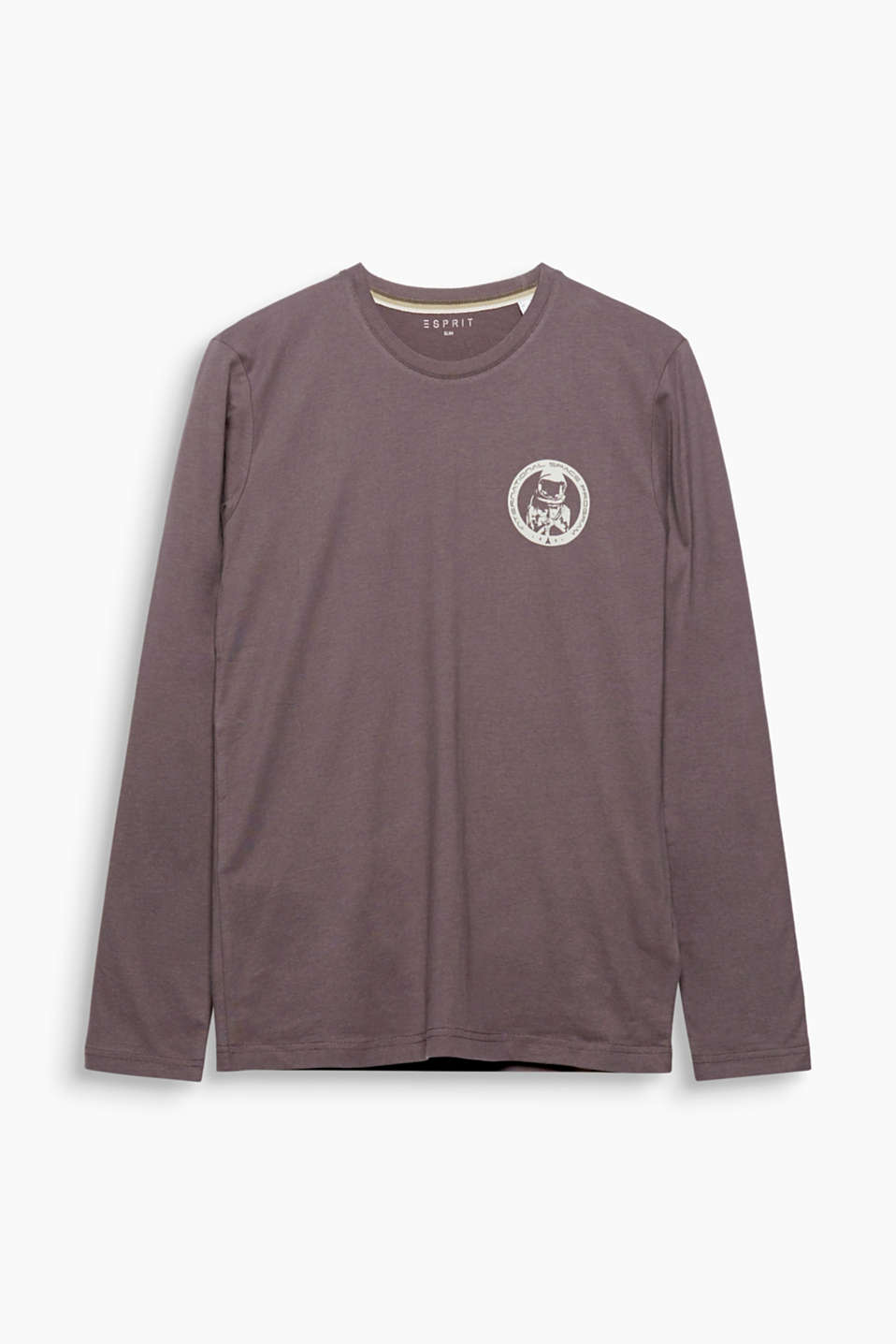 This soft long sleeve T-shirt made of pure cotton features a cool space motif.
