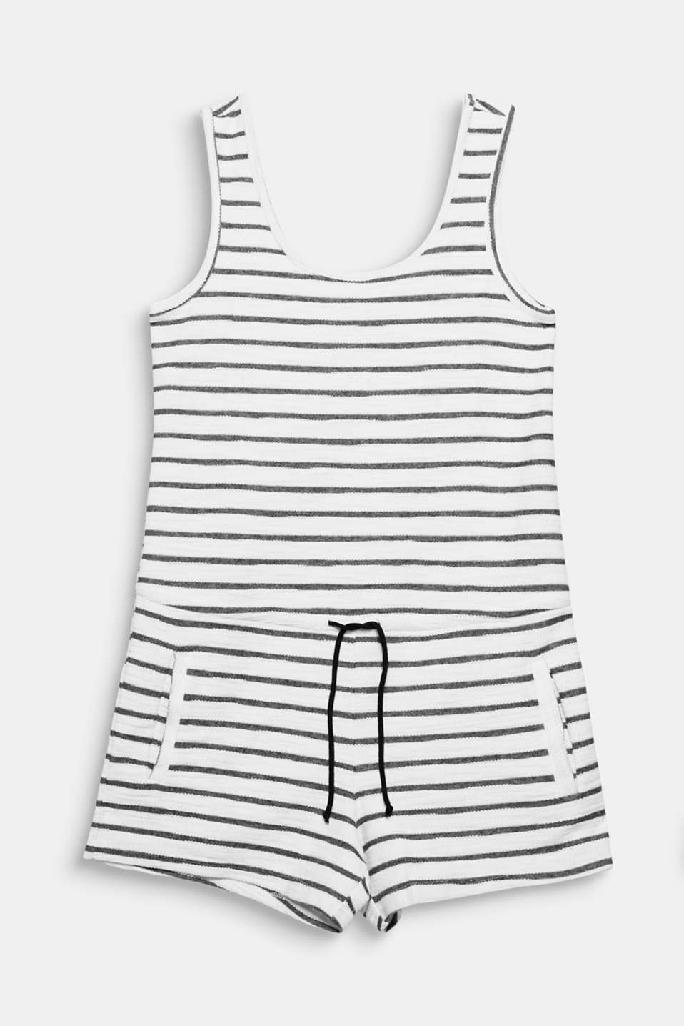 This sportily striped playsuit made of textured sweatshirt fabric is mega comfy and on in a jiffy!