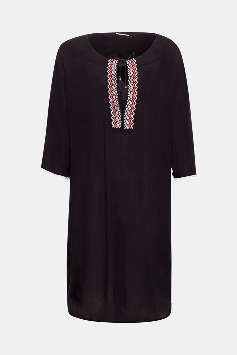 BURNS collection - this summery crinkle tunic is lightweight and casual with colourful embroidery on the neckline!