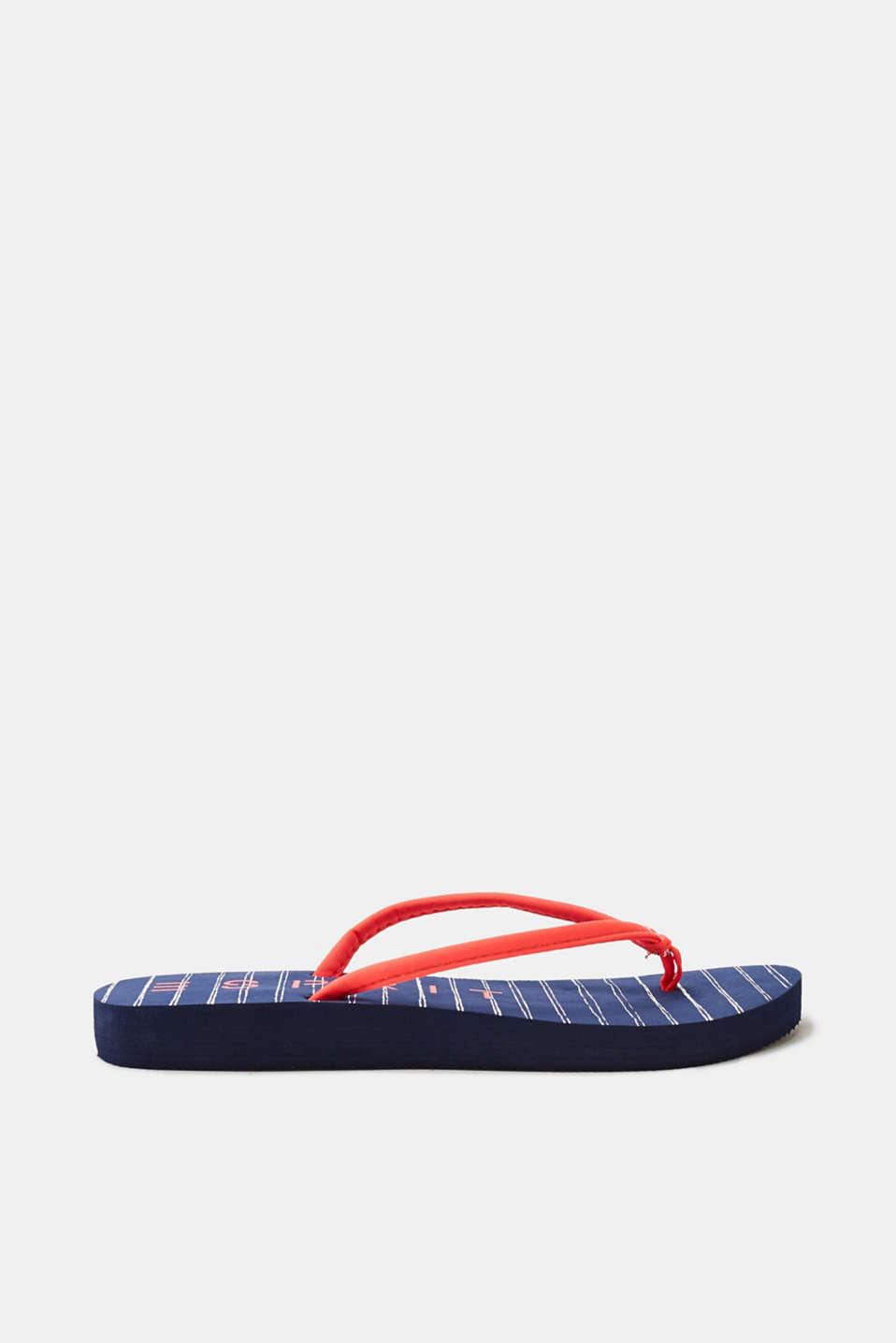 Good for walking on the beach: ultra lightweight thong sandals with a nautical striped insole!