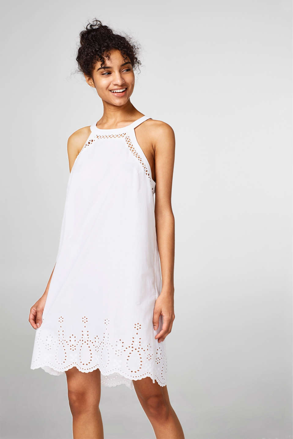 Esprit - Light and airy dress with broderie anglaise