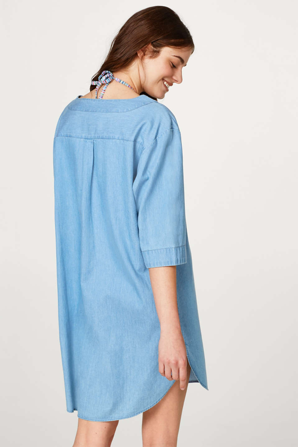 Tunic dress in cotton denim with embroidery