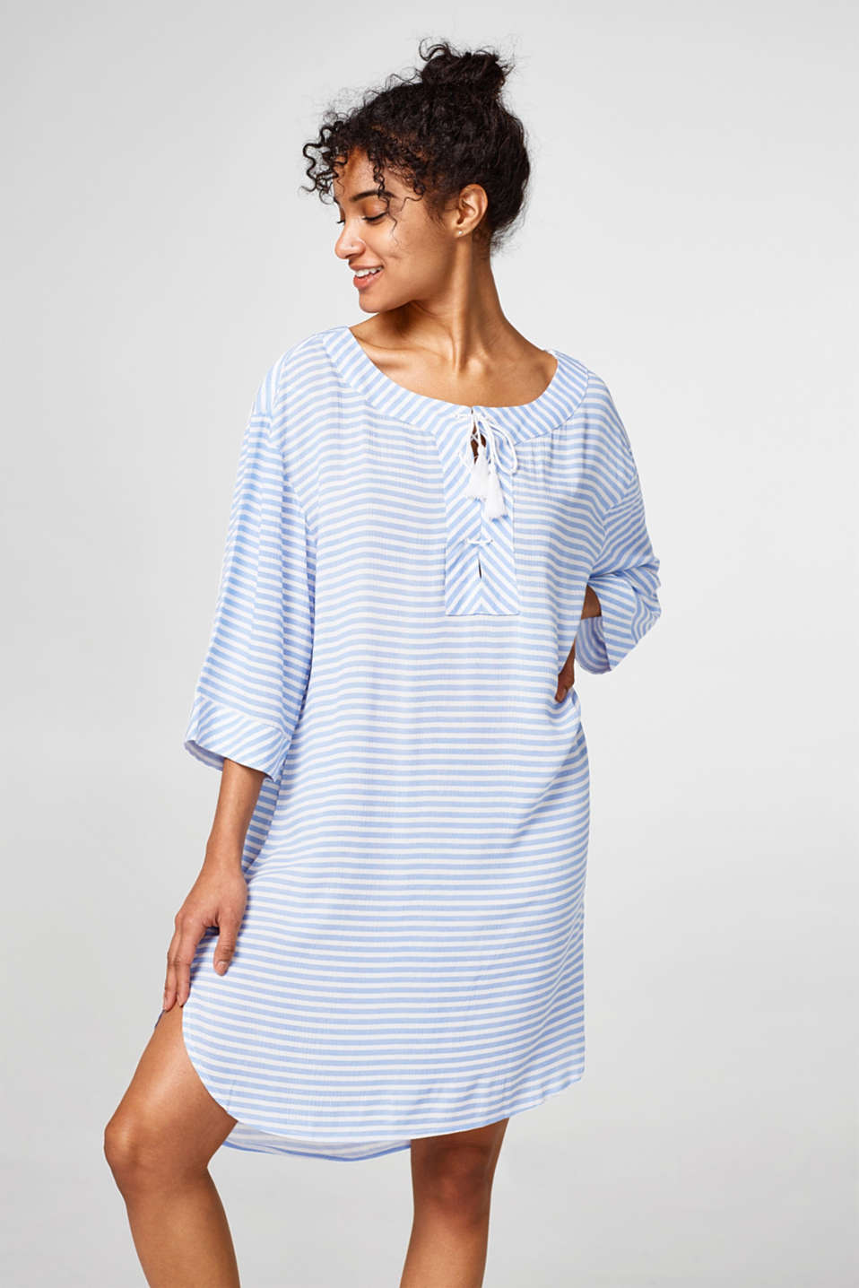 Esprit - Striped tunic dress with tassels