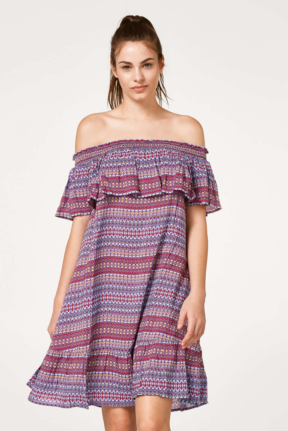 Esprit - Woven beach dress with a colourful print
