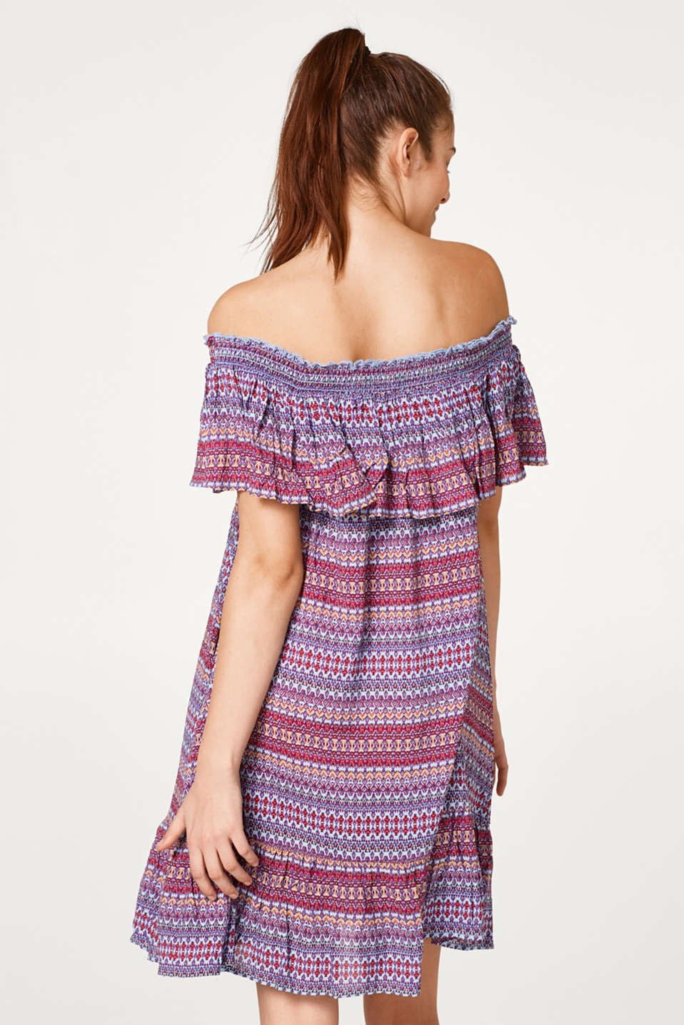 Woven beach dress with a colourful print