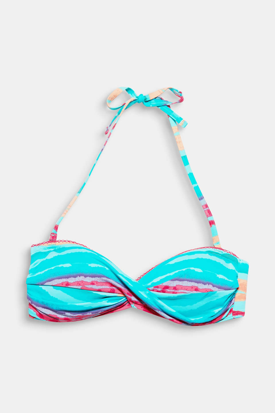 AROCA collection – uneven multi-coloured stripes give this bandeau top its summery flair!