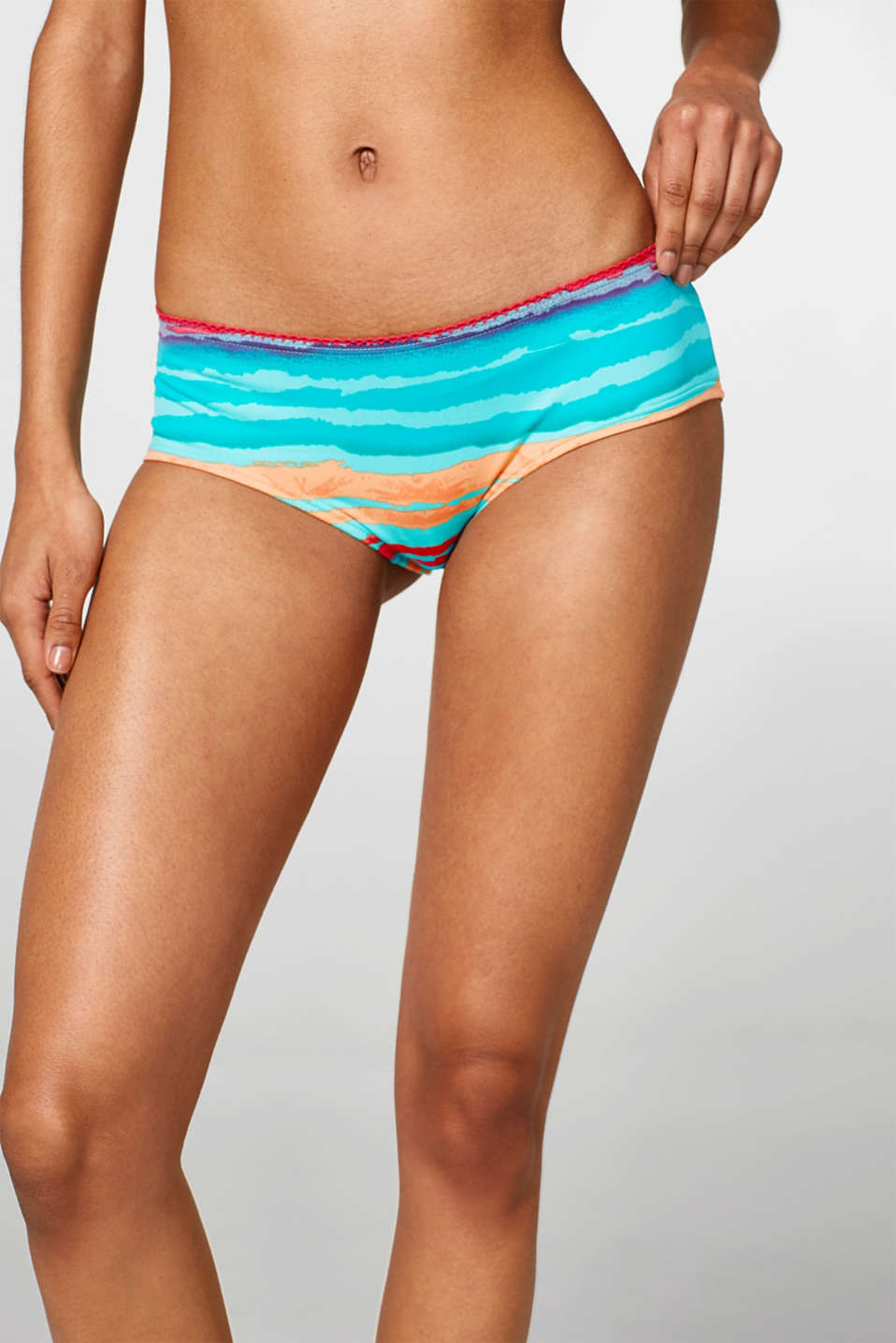 Esprit - Hipster shorts with multi-coloured stripes