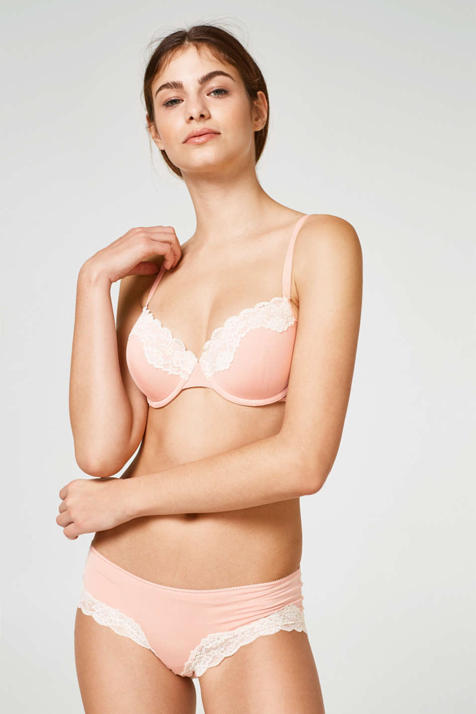 Esprit - Padded underwire bra with contrasting lace