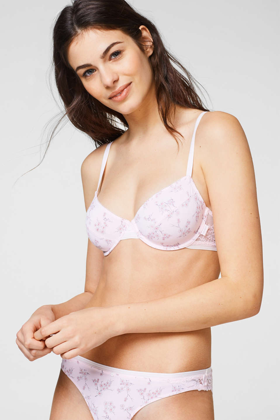 Esprit - Unpadded bra with a cherry blossom print