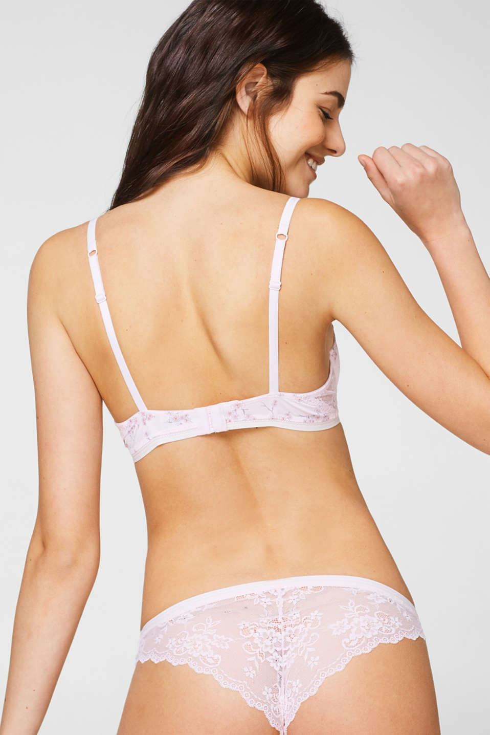 Unpadded bra with a cherry blossom print