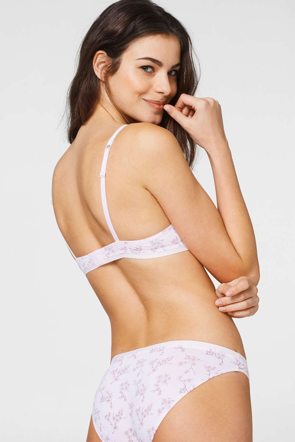 Push-up bra with a cherry blossom print