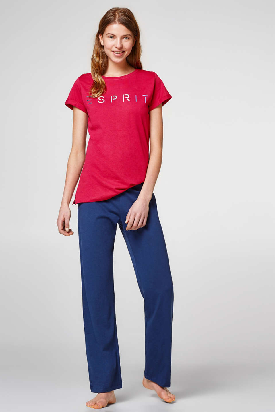 Esprit - Jersey pyjamas with a logo, 100% cotton