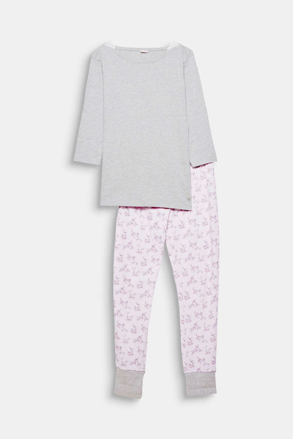 The design of these soft jersey pyjamas consisting of a melange tee and printed bottoms is both casual and pretty!