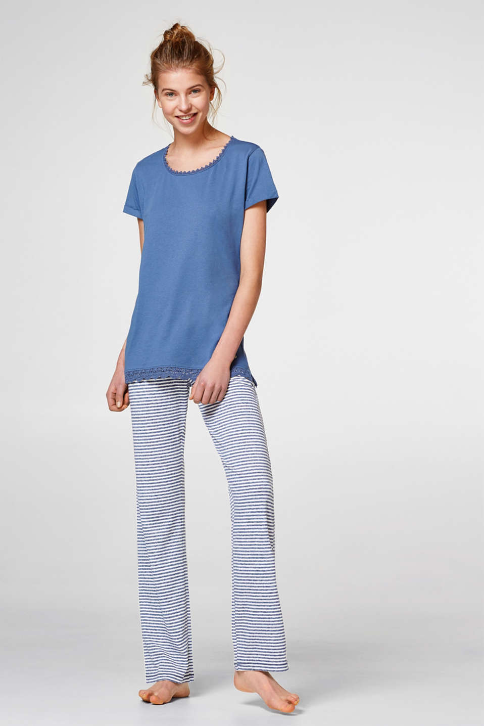 Esprit - Jersey pyjamas with lace and stripes