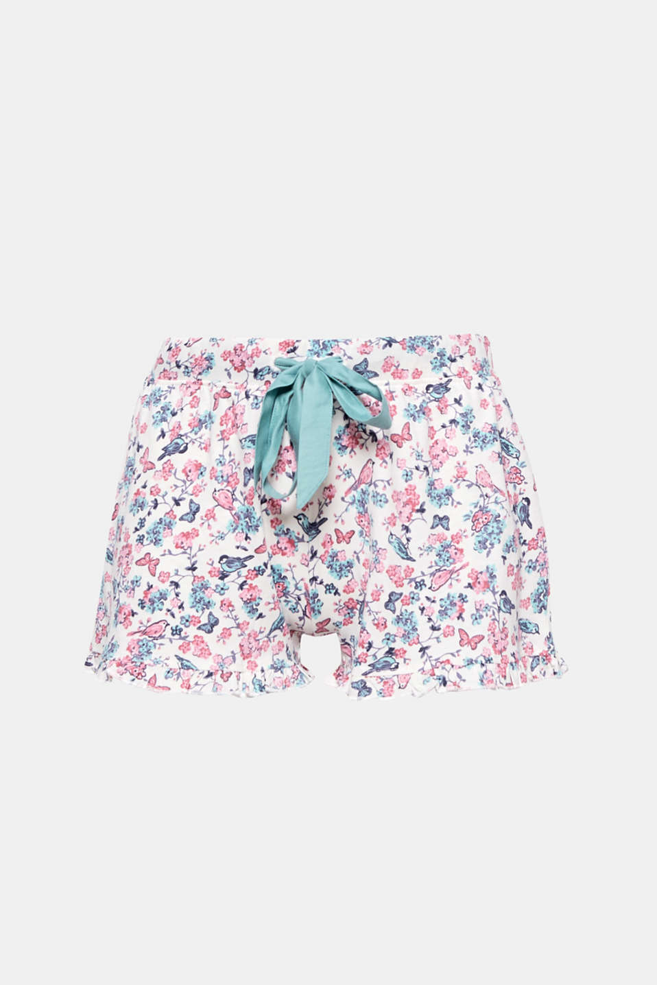The combination of pretty frills and an all-over floral/bird print gives these shorts a feminine twist