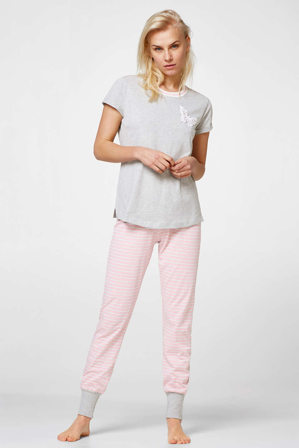 Esprit - Stripe + butterfly detail pyjamas