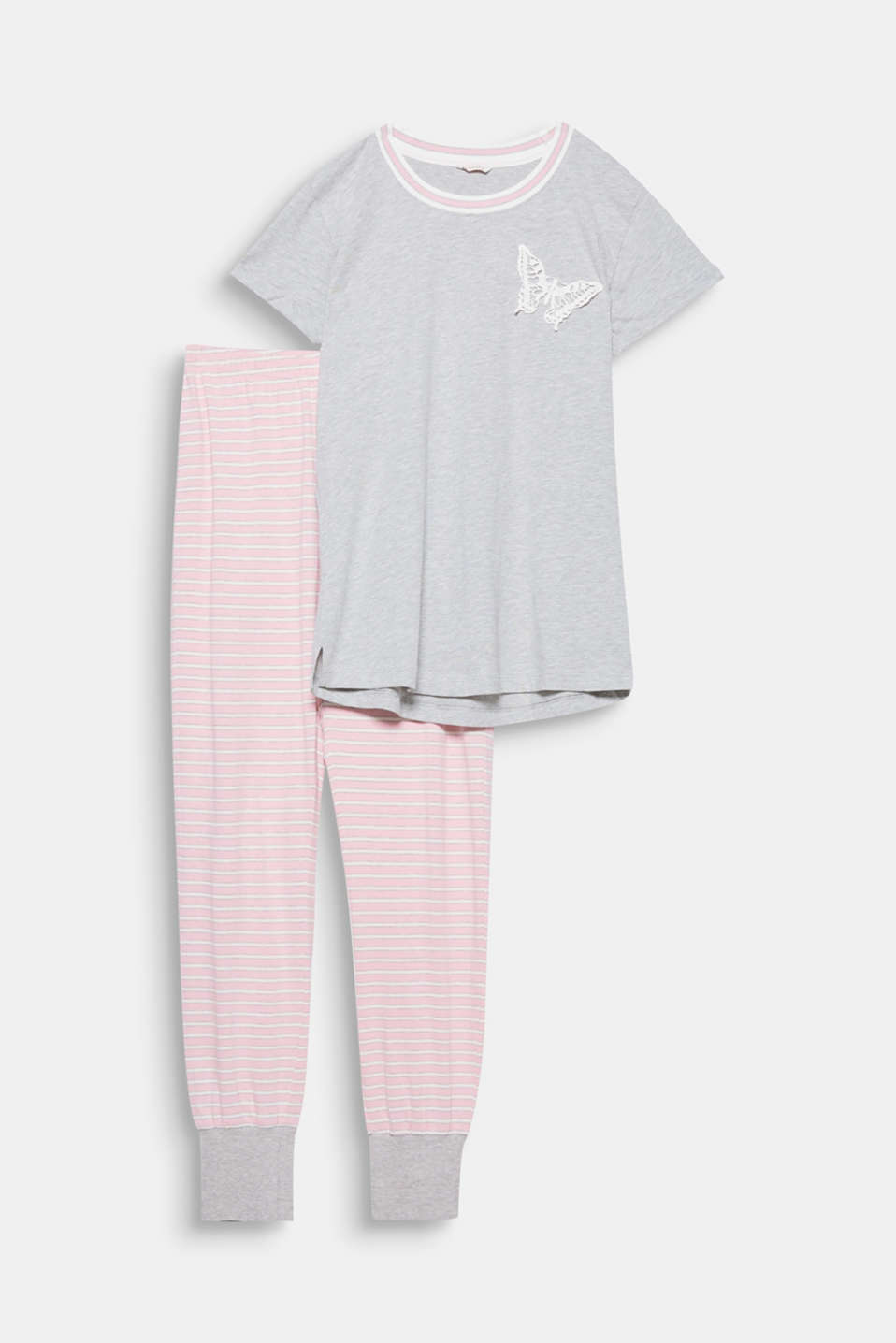 These cute pyjamas featuring striped bottoms and an appliquéd butterfly guarantee top comfort.