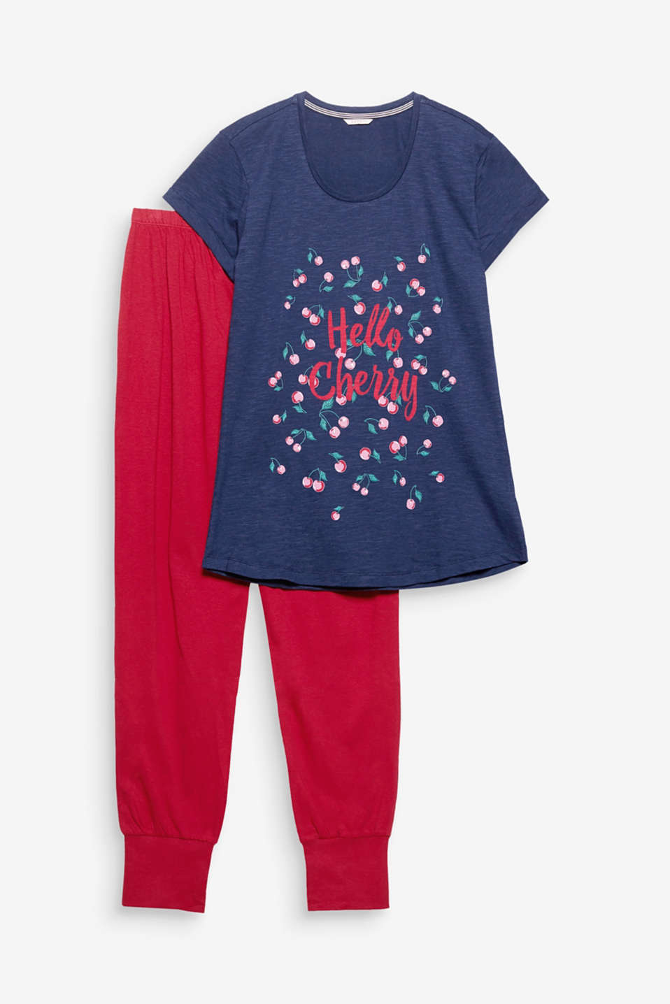 Hello cherry! The cheerful cherry print makes these cotton pyjamas a feel-good, head-turning combination.