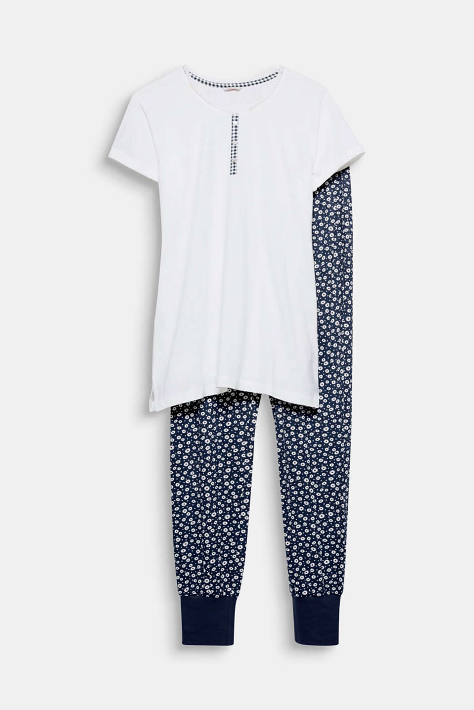 These soft jersey pyjamas with gingham check details and floral tracksuit-style bottoms will bring you sweet dreams!