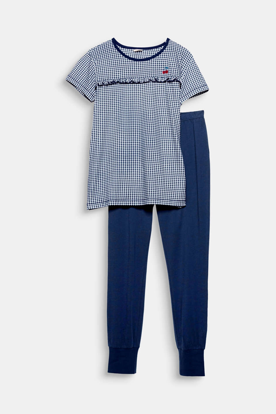 The pretty gingham checks, the cherry embroidery and the appliquéd frill add decorative, eye-catching details to these jersey pyjamas!