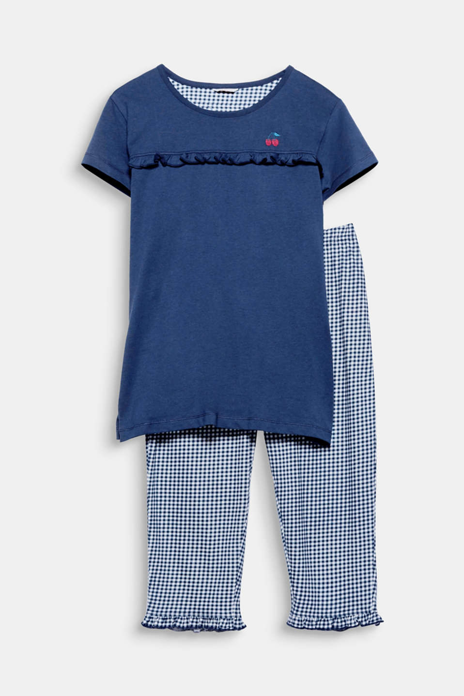 Embroidered cherries, a pretty frill and a fashionable gingham check give these airy jersey pyjamas a fresh kick!