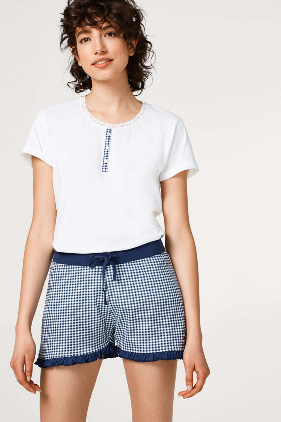 Esprit - Checked jersey shorts, 100% cotton