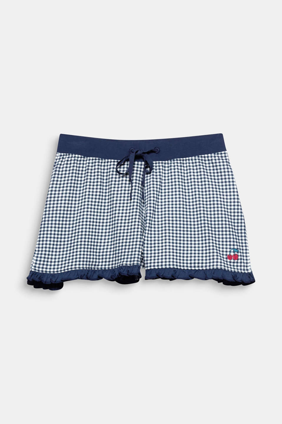 With frilly hem borders, cherry embroidery and the classic checked pattern, these shorts are perfect for relaxing!