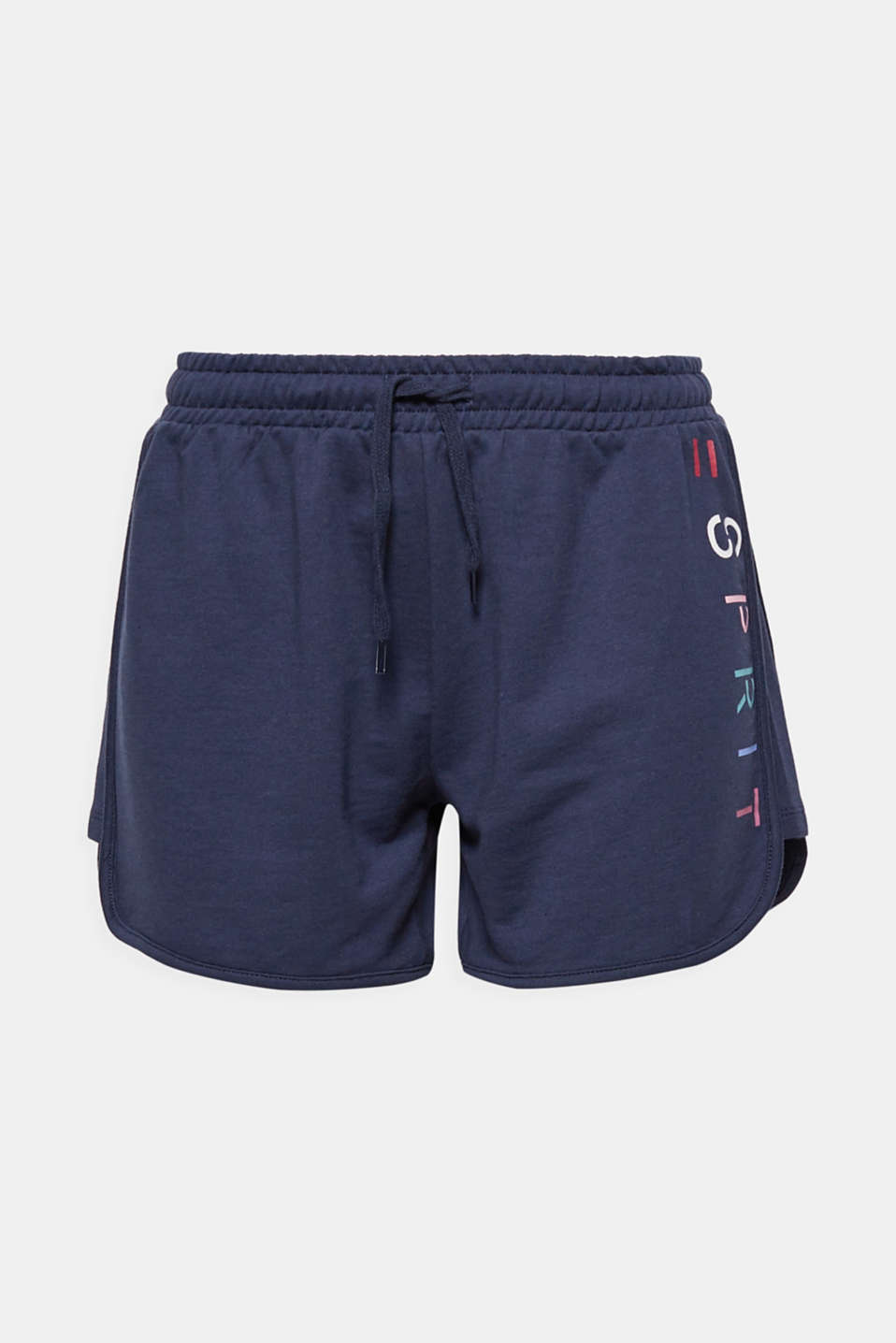 Sporty and authentic with a colourful logo print: jersey shorts made of pure cotton!