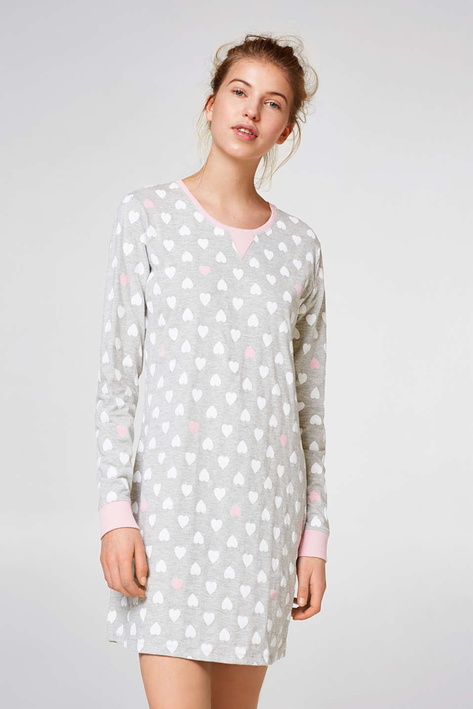 Esprit - Nightshirt with all-over heart print