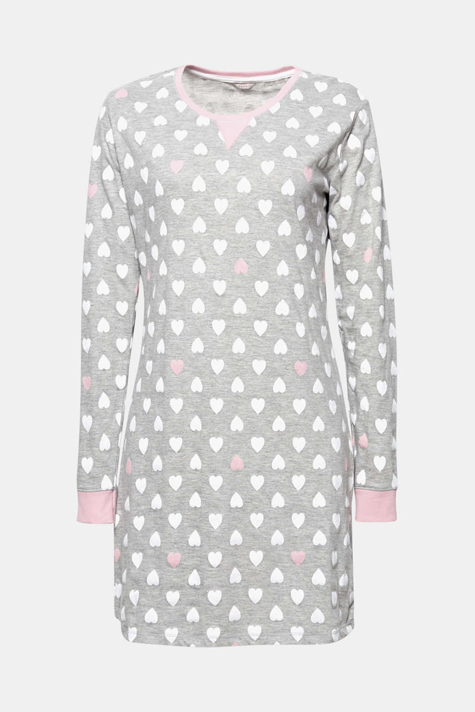 A nightshirt that you will love! This nightshirt made of blended cotton impresses with its fine heart print.