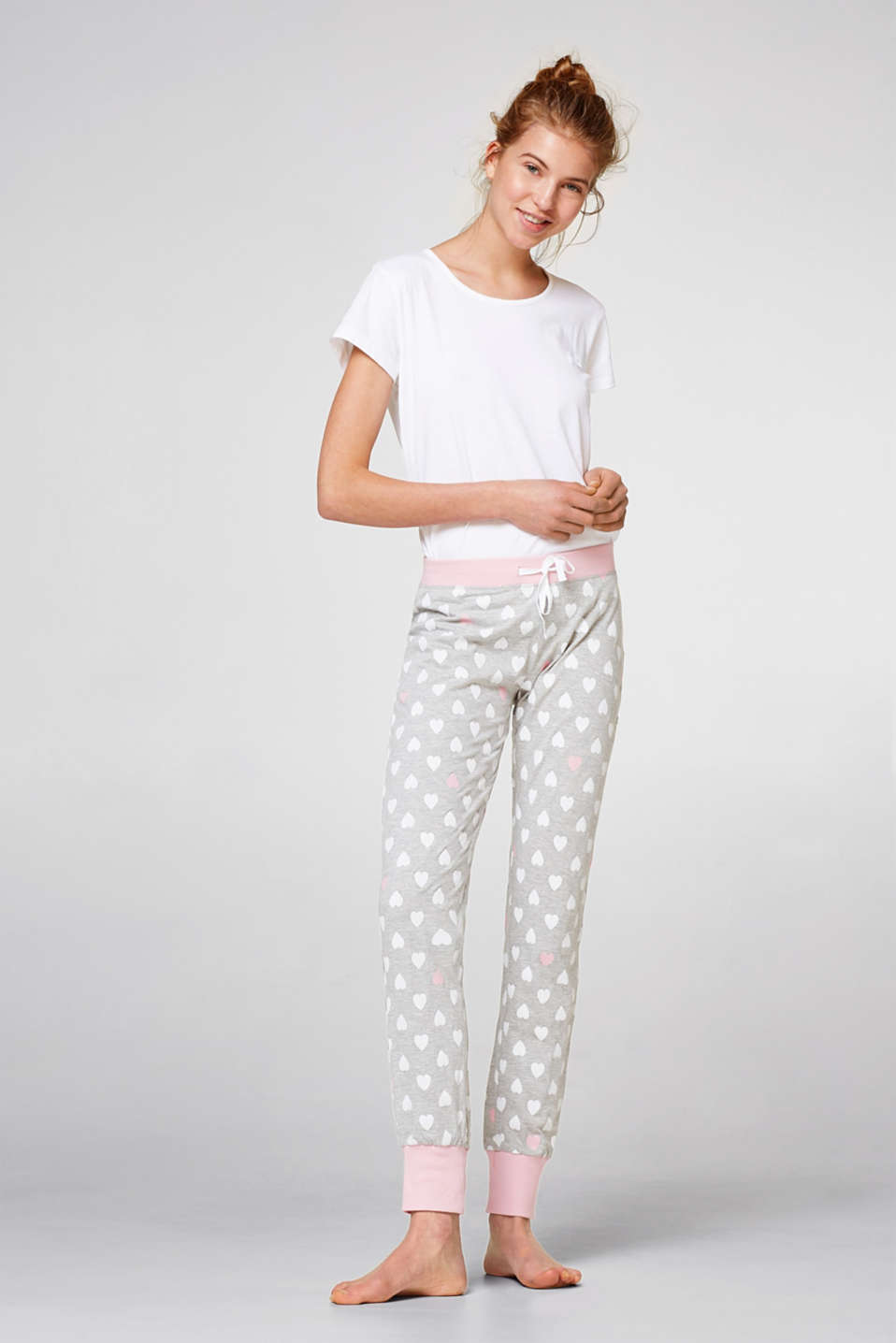 Esprit - Soft trousers with a heart print
